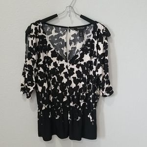 WHBM Abstract Floral Cold Shoulder Blouse Sz XXS